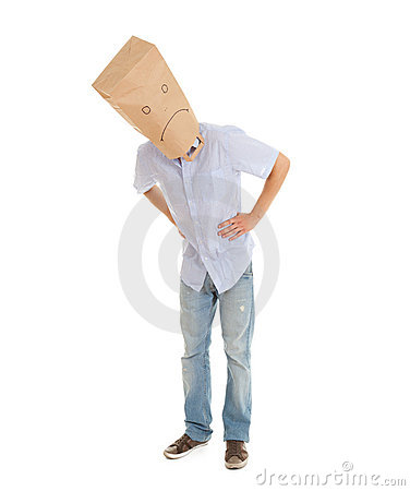 Man with sad paper bag on head, full length