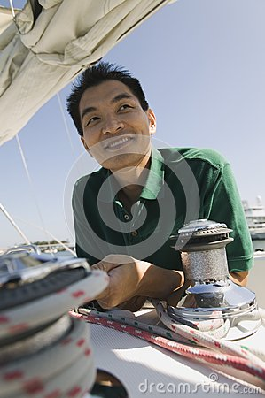 Man on sailboat