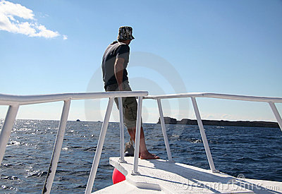 Man on the sailing boat