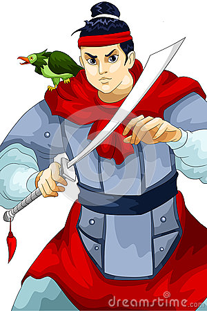 Man samurai bird anime character cartoon style
