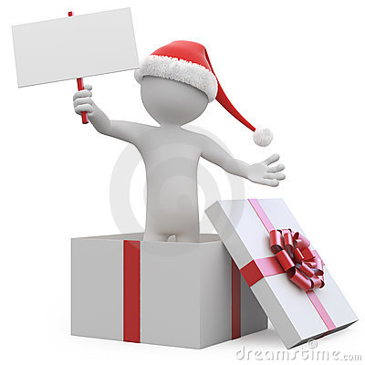 Man with Santa hat and a blank card leaving a gift
