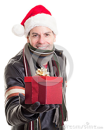Man in Santa Hat with Christmas Gift