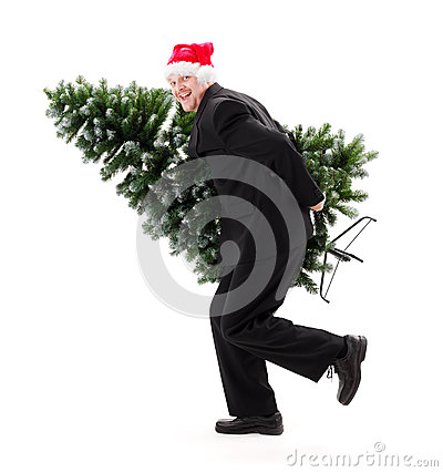 Man in Santa s hat carry bald Christmas tree