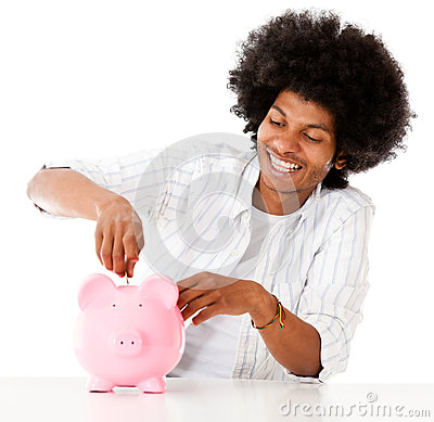 Man saving in a piggybank