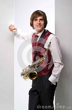 A man with a saxophone