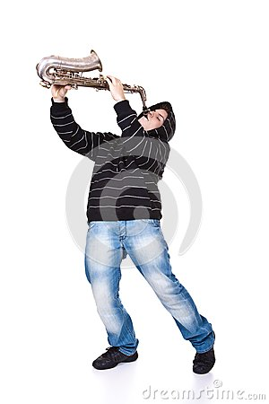 Man and saxophone