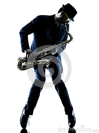 Free Man Saxophonist Playing Saxophone Player Silhouette Royalty Free Stock Photo - 49694435