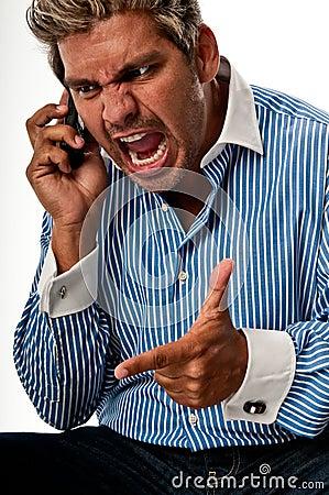 Man scream in a phone
