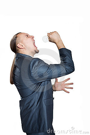 Man screaming with bulb
