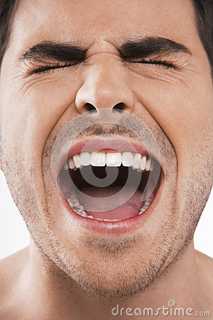 Man Screaming With Eyes Closed