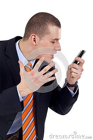 Man screaming in his phone