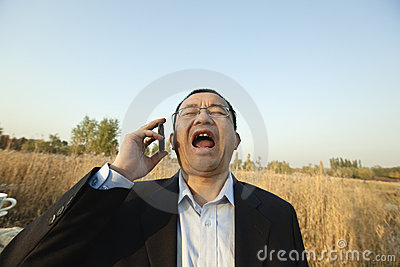 Man screaming on the phone