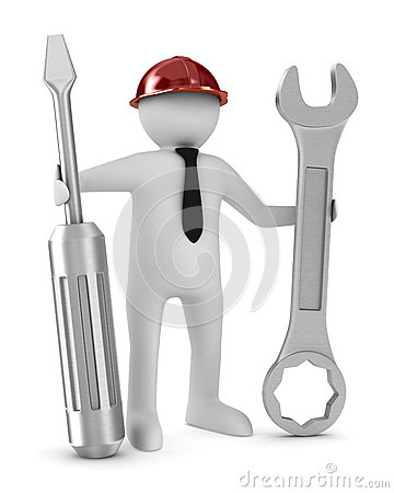 Man with screwdriver and spanner on white background