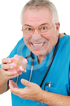 Man in scrubs with a piggy bank