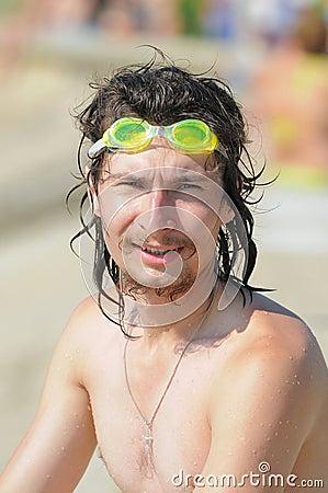 The man on a sea beach.