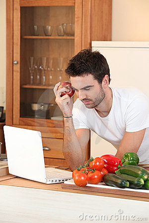 Man searching for a recipe