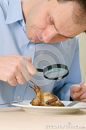 Man seeking food on plate