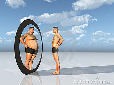 Man sees overweight self in mirror