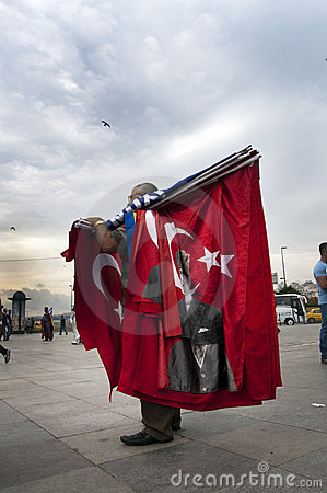 Man selling turkish flags Editorial Image