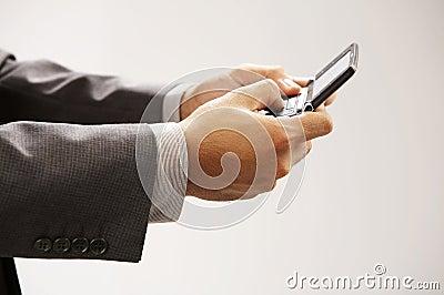 Man sending text messages