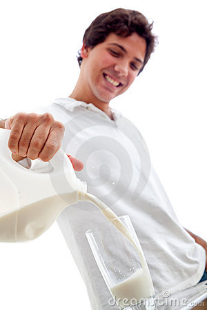 Man serving milk