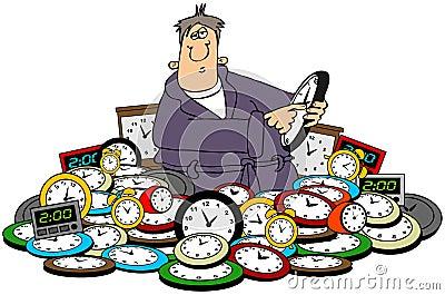 Man setting time on clocks