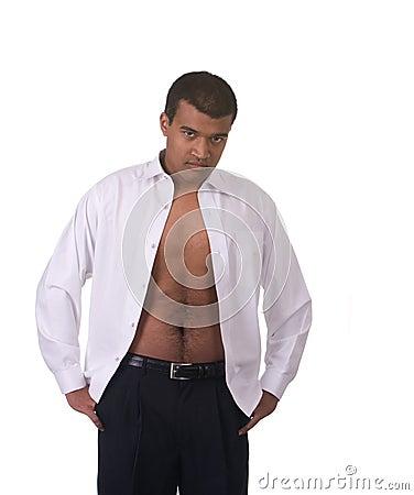 Man shirt open