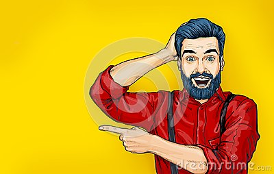 Man with shocked facial expression. Surprised Man in comic style. Man showing . Advertisement. Smiling man. WoW. Stock Photo