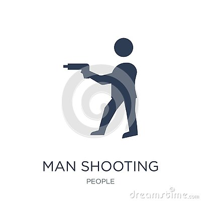 man Shooting icon. Trendy flat vector man Shooting icon on white Vector Illustration