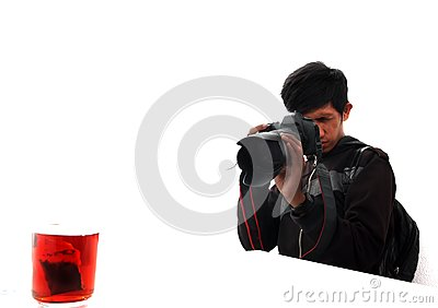 Man Shooting Object Tea Royalty Free Stock Photography - Image: 15522097
