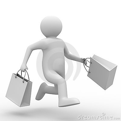 Man with shoping bag on white