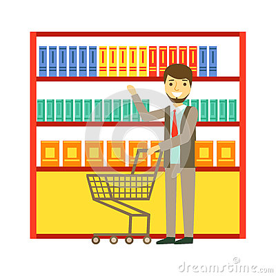 Free Man Shopping At Supermarket With Shopping Cart And Buying Products. Shopping In Grocery Store, Supermarket Or Retail Stock Image - 92251051