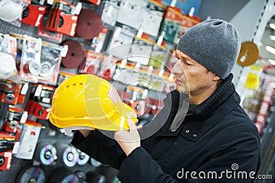 Man shopping at building hardware store