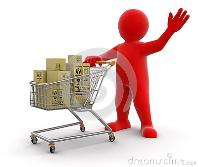 Man and Shopping Cart with packages (clipping path included)