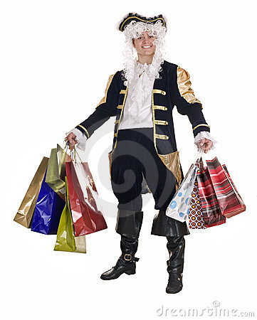 Man in shopping with old costume and wig.