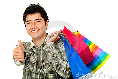 Man shopping - thumbs up