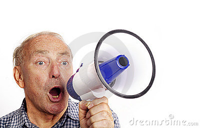 Man shouting through a bull horn