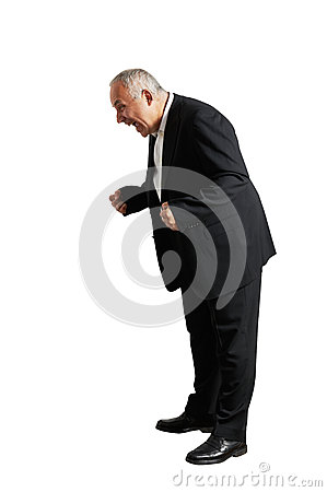 Man shouting and looking down