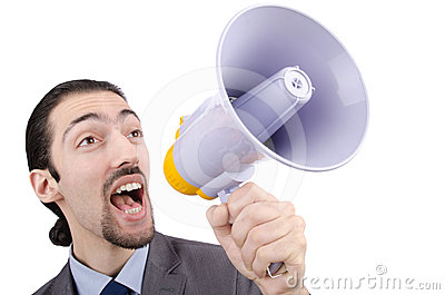 Man shouting with loudspeaker