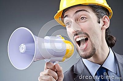 Man shouting  with loudspeaker