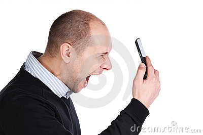 Man shouting at the mobile phone
