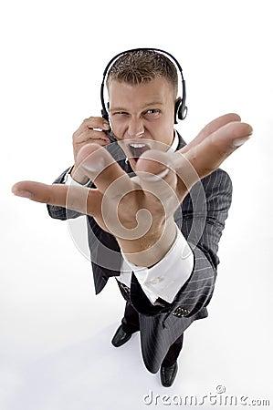 Man shouting on phone call