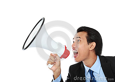 Man shouting using megaphone