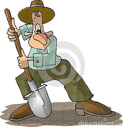 Man with a shovel Cartoon Illustration