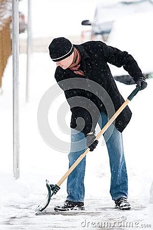Free Man Shoveling Snow Royalty Free Stock Photography - 8652997