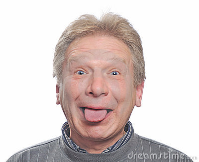Man show tongue