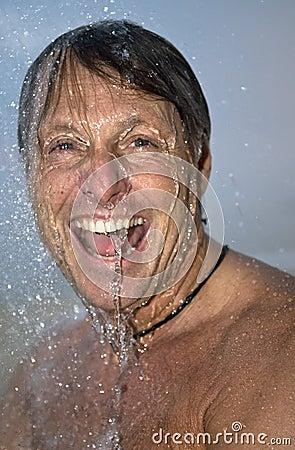 Man showering