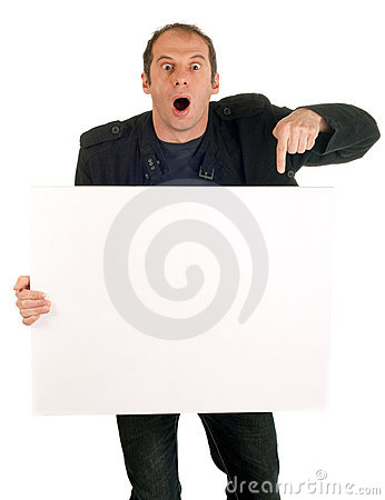 Man showing billboard