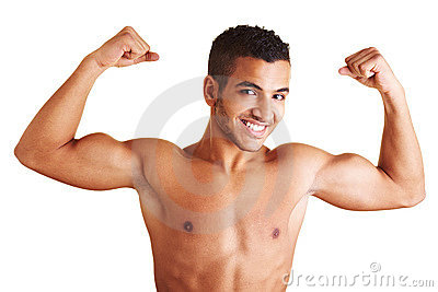 Man showing both arm muscles