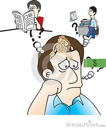 Man showing the brain problem